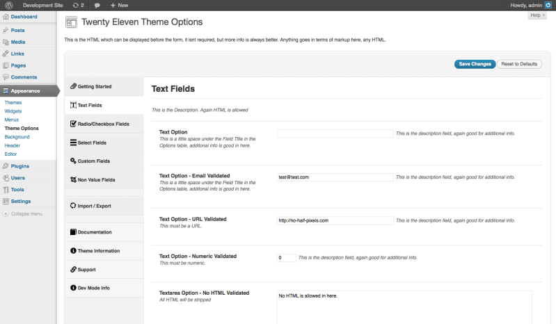 NHP Theme Options Framework