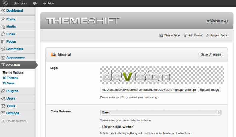 ThemeShift Theme Options