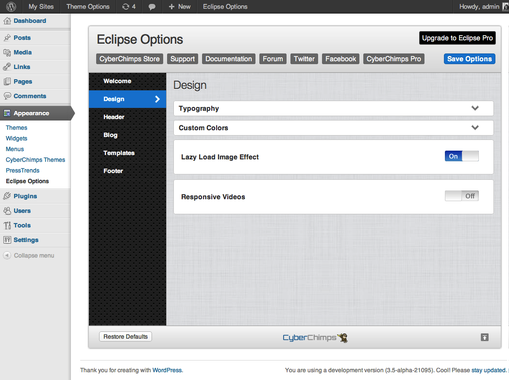 Eclipse Theme Options | Theme Options Gallery
