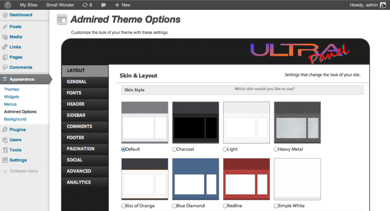 Admired Theme Options for WordPress
