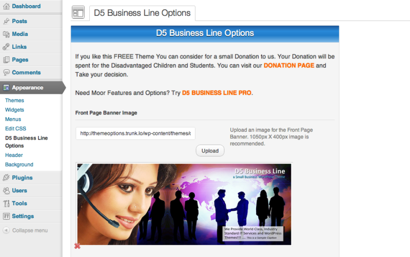 D5 Business Line Theme Options